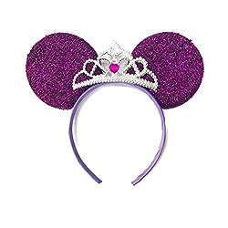 MeeTHan Mickey Mouse Ears Headband Minnie Mouse ears Tiara headbands : M6 (Purple)