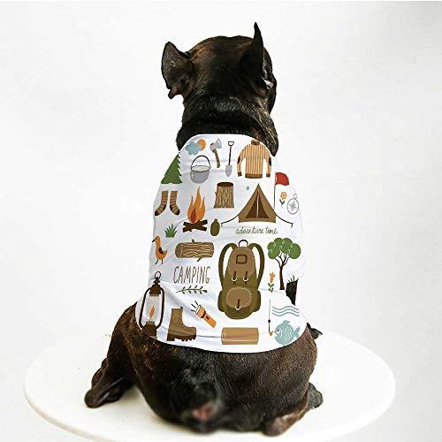 YOLIYANA Adventure Cute Pet Suit,Camping Equipment Sleeping Bag Boots Campfire Shovel Hatchet Log Artwork Print for Small Medium Large Size Dogs Cats,L