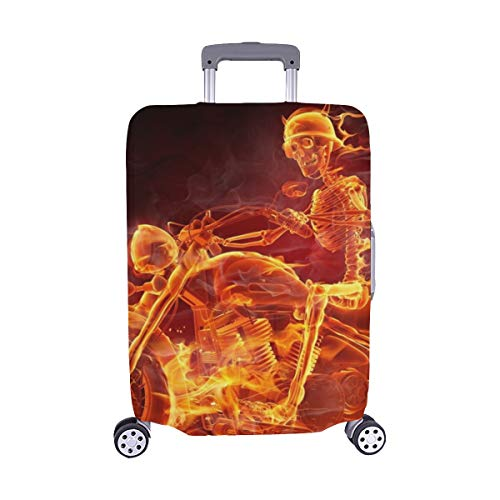 Fire Skeleton Riding Motorcycle Spandex Trolley Case Travel Luggage Protector Suitcase Cover 28.5 X 20.5 Inch -