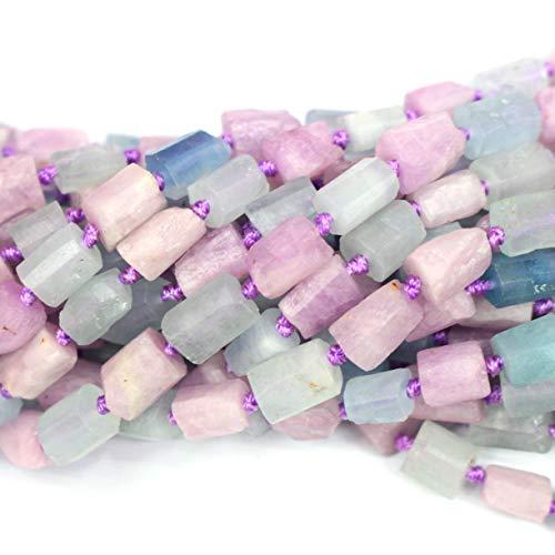 Natural Aquamarine Kunzite Barrel 8x10mm Free Size Nuggets Genuine Gemstone Jewelry DIY Making Loose Beads