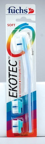 Fuchs Toothbrushes EkoTec Replaceable Head Toothbrushes EkoTec Handle with 3 Soft Nylon Heads - 3PC