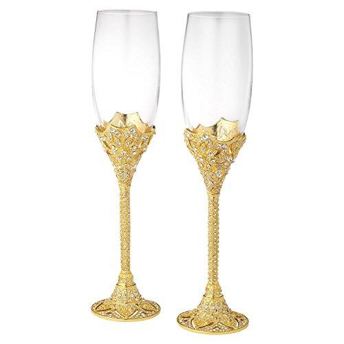 - Olivia Riegel Gold Windsor Crystal Wedding Champagne Toasting Flute Glasses Set of 2