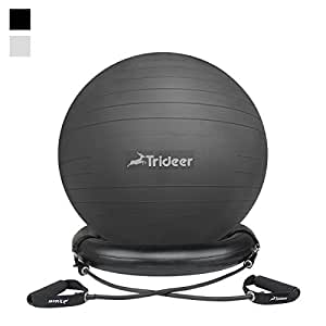 Trideer Exercise Ball Chair, 65cm&75cm Stability Ball with Ring & Pump, Flexible Seating, Improves Balance, Core Strength & Posture (Office & Home & Classroom) (Ball with Ring & Bands (Black), 65cm)