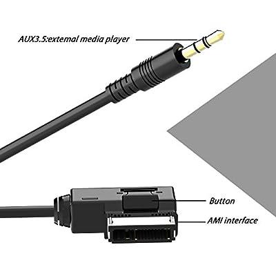 CHELINK Music Interface AMI MMI AUX 3.5mm Jack Aux-in MP3 Adapter Cable for Audi A3/A4/A5/A6/A8/Q5/Q7/R8/TT,vw Jetta GTI GLI Jetta Passat Cc Tiguan Touareg EOS Golf Mk 6, etc. (Audi 2 M): Home Audio & Theater