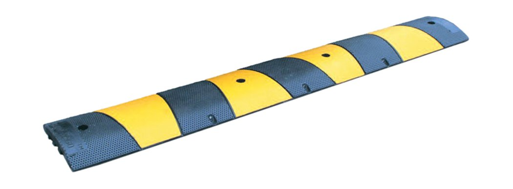 1830mm Black//Yellow Rubber Section with 2 Cable Channels The Workplace Depot Sleeping Policeman
