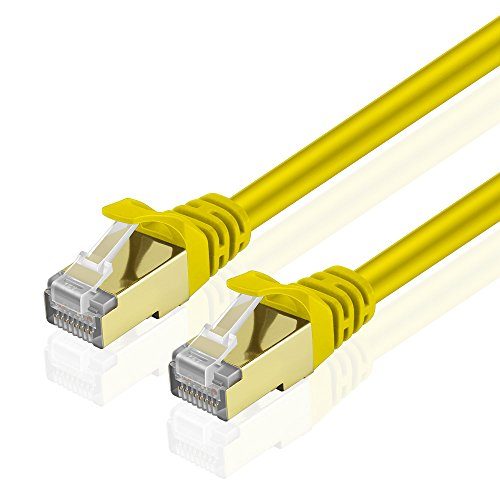 Cat5e Ylw Cbl Quality Computers (TNP Cat6 Ethernet Patch Cable - Professional Gold Plated Snagless RJ45 Connector Computer Networking LAN Wire Cord Plug Premium Shielded Twisted Pair (15FT, Yellow))