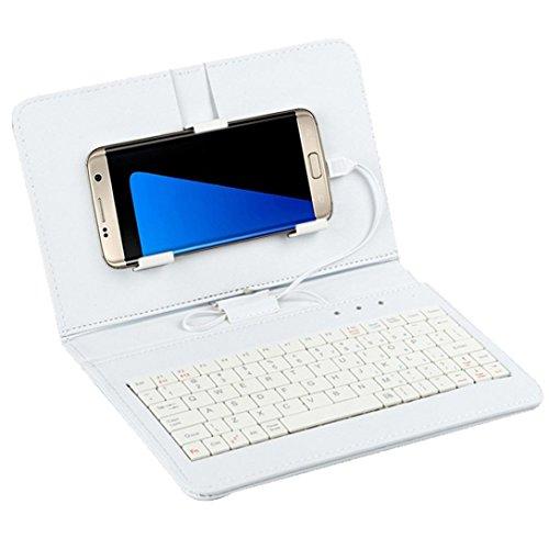 Weiß Wired Keyboard Flip Holster Schutzhülle für Android Handy 10,7cm -6.8von hansee®