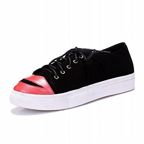 Latasa Dames Chique Lippen Veter Platform Schoenen, Skate Schoenen Zwart (schapenvacht)