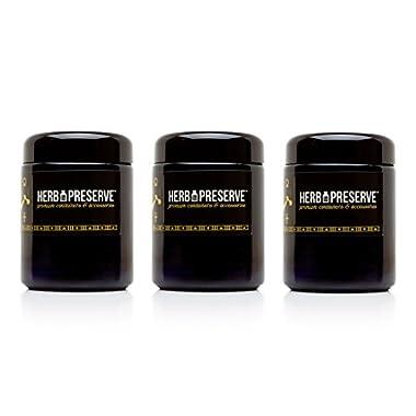 Herb Preserve Half Oz (250 Ml) Capacity Medium Size Screwtop Jar Black Ultraviolet Refillable Glass Stash 3-Pack