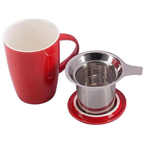 Benail 12 OZ Porcelain Tea Mug with Infuser and Lid (Red)
