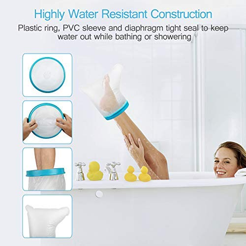 UpGoing Waterproof Foot Cast Wound Cover Protector for Shower Bath, Watertight Cast Bag Covers for Broken Surgery Foot, Ankle Wound and Burns Adult 100% Reusable (12.9''13.5''7'') [2019 New Upgrade]