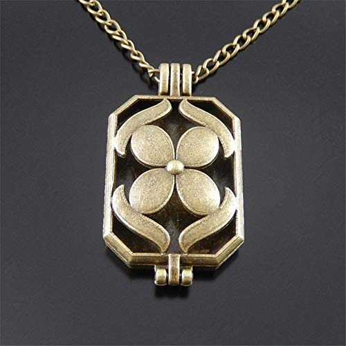 (1pc 70cm Vintage Bronze Alloy Rectangle Lotus Leaf Locket Necklace Pendant Diffuser JI7C)
