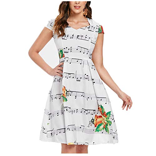 Birdfly Women All White Back Zipper Dress with Bell and Musical Symbol Print Christmas Costume (L, White) -