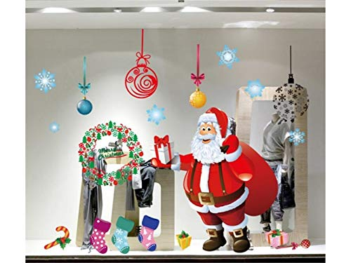 Yunqir Christmas Santa Window Wall Stickers Removable Wall Decals(Red) by Yunqir (Image #4)