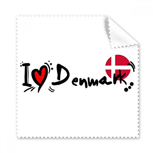 I Love Denmark Word Flag Love Heart Illustration Glasses Cloth Cleaning Cloth Phone Screen Cleaner 5pcs - I Glasses Denmark