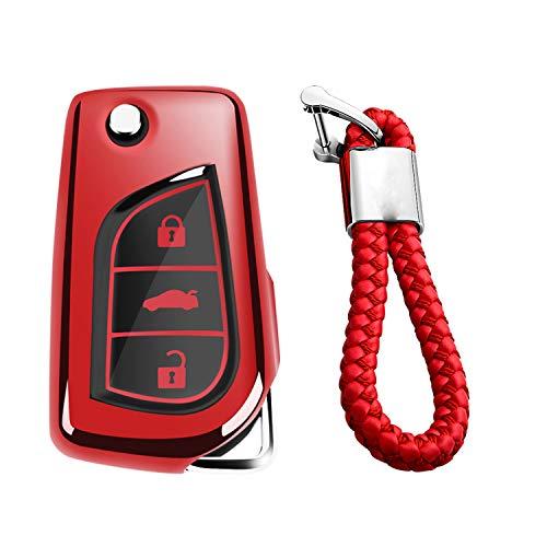 Braided Fob Key - M.JVisun Soft TPU Case Cover Protector Case for Toyota Flip Key Fob, Car Remote Key Fob Case for Toyota Levin Camry Highlander Corolla RAV4 Fortuner Fob Remote Key - Glossy Red - Braided Keychain