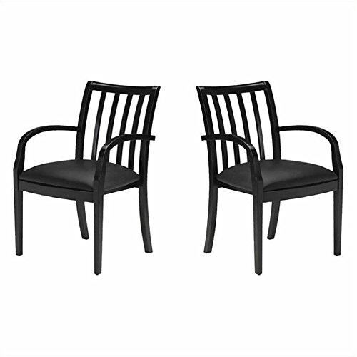 Mayline Mercado Genuine Black Leather Seat & Slat Back Solid Espresso Walnut Wood Chair (Set of 2)