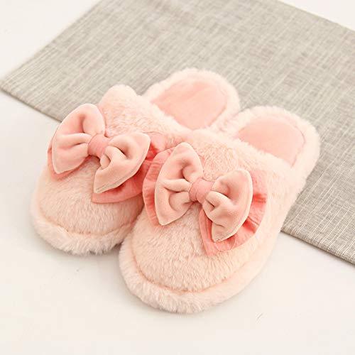 Inverno Casa Paio Include Slip Pelliccia Cotone Scarpe Fuwux Di Size Fondo Calore Pantofole Donna Pink Home color Un Coperta Pink Carino Spessore 1 Per Non WHZTq0qYxw