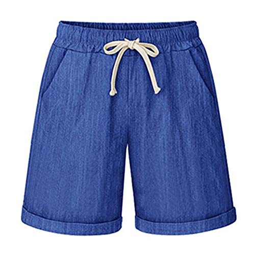 XinDao Women's Outdoor Drawstring Elastic Waist Casual Comfy Bermuda Plus Size Hiking Shorts Denim Blue US 3XL/Asia 8XL