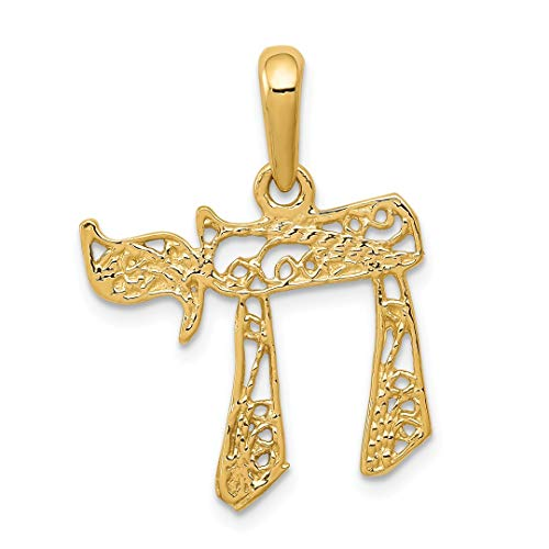 Amazon Black Friday Jewelry Deals 2018-14k Yellow Gold Filigree Chai Pendant Charm Necklace Religious Judaica Fine Jewelry For Women Gift Set - Yellow Gold Large Chai Pendant