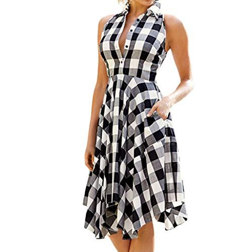 Women Dress Sleeveless Summer Plaid Button Evening Party Swing Midi Dress for Teen Girls ()