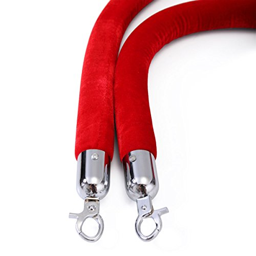 JAXPETY Red Velvet Barrier Rope with Sliver Color Plated Hooks Crowd Control Stanchion New by JAXPETY (Image #4)