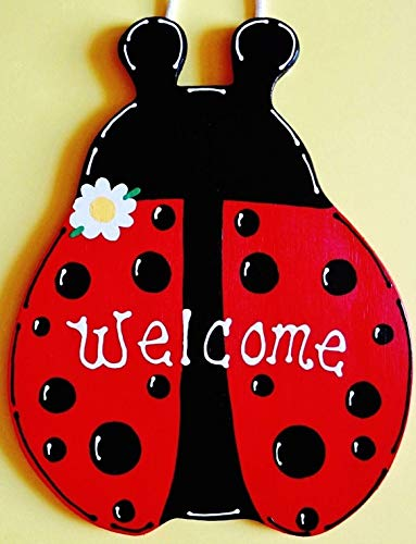 (Tokogingseng Ladybug Welcome Sign Wall Art Door Hanger Plaque )