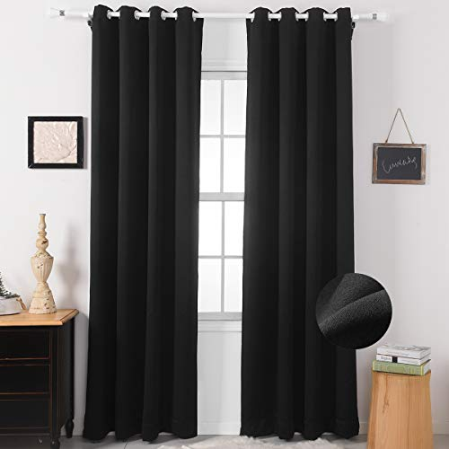 Nauxcen Blackout Curtains 63 Length, Black Blackout Curtains for Bedroom/Living Room/Women, Grommet Thermal Insulated Curtains/Drapes(2 Panels,50 x 63 Inch)