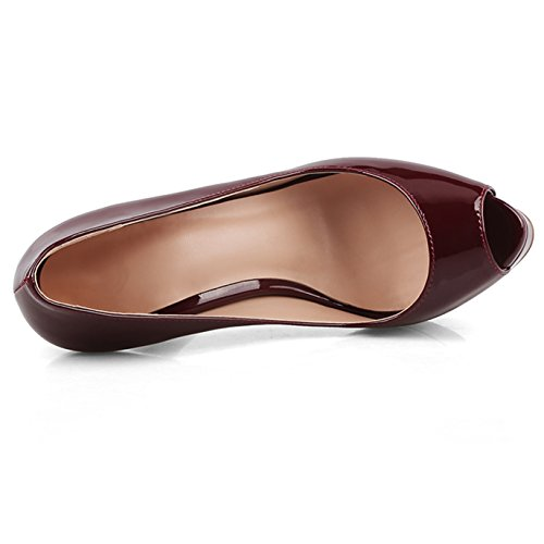 Chris-t Dames Naaldhak Platform Peep Toe Pumps Bordeaux Rood