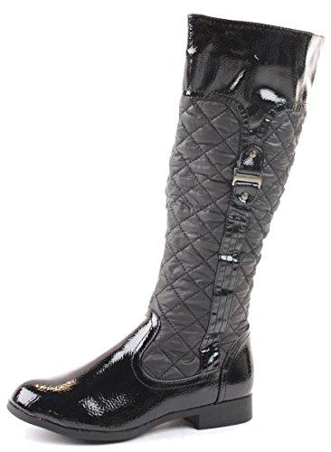 Ladies Womens Black Flat Winter Biker Riding Style Low Heel Knee High Boots Size Style 30 - Black