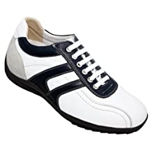 TOTO - A66361 - 2.8 Inches Taller - Height Increasing Elevator Shoes (White & Blue Leather Casual Shoes)