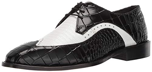 STACY ADAMS Men's Trazino Croco-Lizard Print Wingtip Lace-Up Oxford, Black/White 11.5 M ()