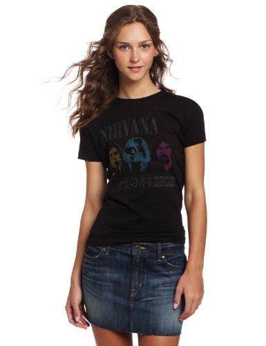 FEA Women's Juniors Nirvana No 1 Rock Music Tissue Tee, Black, Small