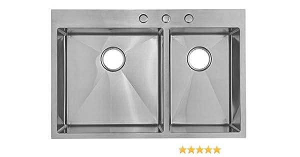 Starstar 33 X 22 Top-mount 60/40 Double Bowl Kitchen Sink Drop-in 304  Stainless Steel 16 Gauge
