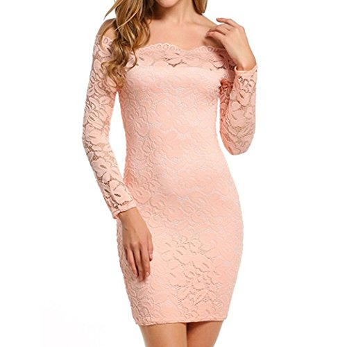Tootu Plus Size Dress,Women Vintage Off Shoulder Lace Evening Party Dress Long Sleeve Dress (XXL, Pink) (Neck Thigh Length Lace)