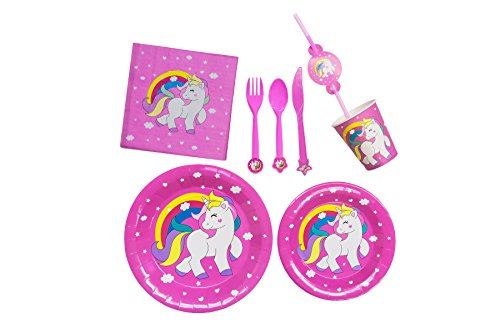 Unicorn Party Supplies Set With Decorations | Exclusive Magical Rainbow Unicorn Design | Invitations With Envelopes | Complete Party -