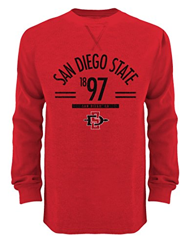 Old Varsity Brand NCAA San Diego State Aztecs Thermal Crew Shirt, Small, Red