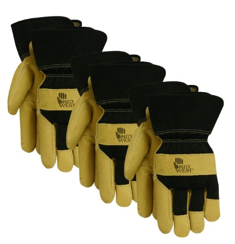Midwest Gloves and Gear 3375P03-L-AZ-6 Genuine Pigskin Leather Palm Work Glove with Blended Cotton Back, Large