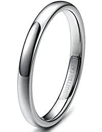 Tungary 3mm Mens Womens Tungsten Carbide Wedding Band Rings Engagement Promise Domed Size 3-12