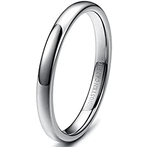 Tungary 2-8mm Mens Womens Tungsten Carbide Wedding Band Rings Engagement Promise Domed