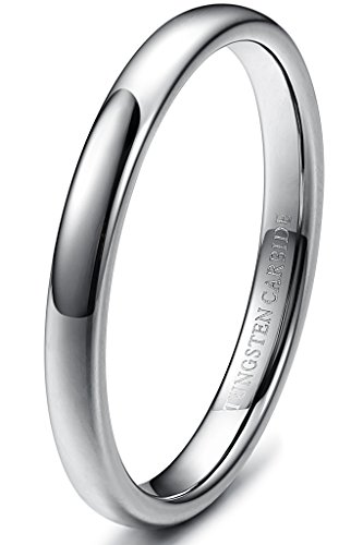 Tungary 3mm Mens Womens Tungsten Carbide Wedding Band Rings Engagement Promise Domed Size 6.5