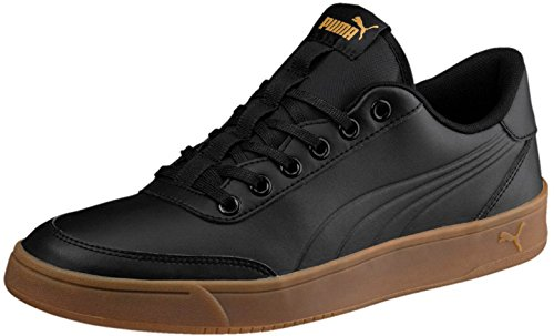 PUMA Men's Court Breaker L Mono Sneaker, Black Black-Metallic Gold, 13 M ()