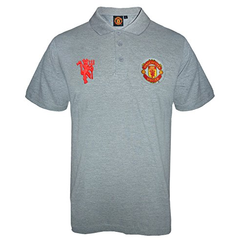 Manchester United FC Official Soccer Gift Mens Crest Polo Shirt Grey Large (Mens Crest Polo)