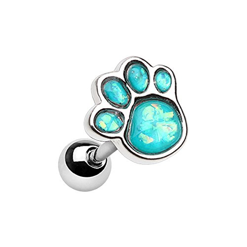Inspiration Dezigns Ear Cartilage Earring Animal Lover Synthetic Opal Paw Print