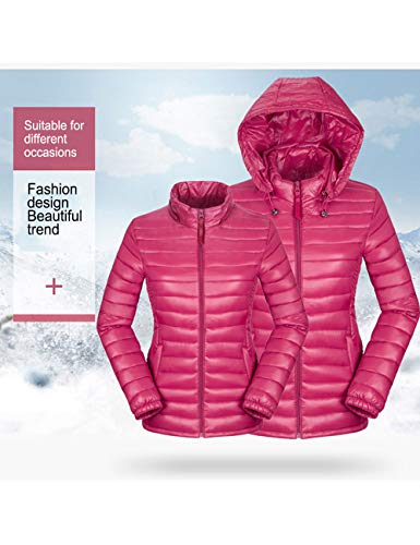 Outerwear Hooded Outdoor Sports Quilted Rose Jacket Coats Red BESBOMIG Womens Durable Casual Coat Rain Color Solid 7fnAzxOwAq