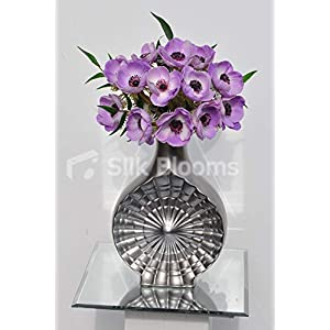 Artificial Lilac Fresh Touch Anemone Floral Display w/Silver Ceramic Vase 40