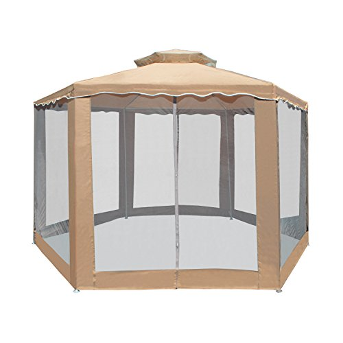 ALEKO GZ2RWN6X6X6SD Polyester Hexagon Gazebo Canopy with Netting Mesh Walls 6.5 x 6.5 x 6.5 Feet - Tent With Net Picnic