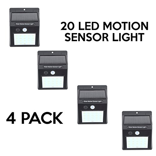 20 LED Solar Power Light Motion Sensor LED Lights (4 Pack) by EZ In Touch With Tomorrow