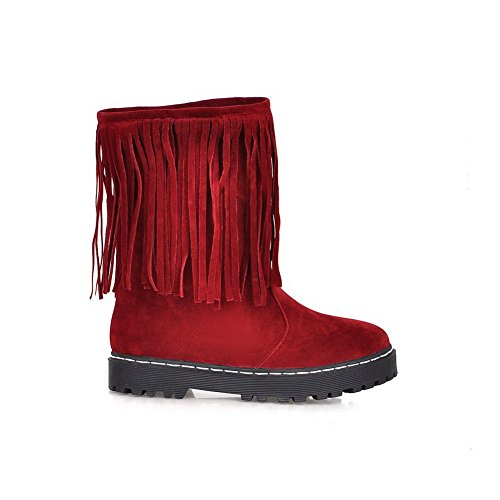 AllhqFashion Womens Frosted Closed Round Toe Solid Low-top Low-Heels Boots Claret