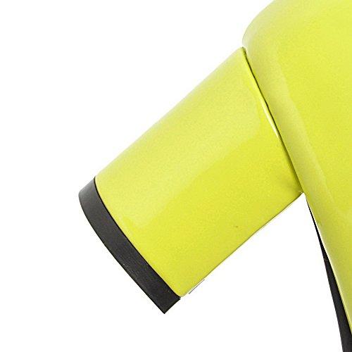 Femme Verni Légeres Chaussures d'orteil Fermeture Talon Correct AllhqFashion à Vert qBwIaa